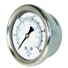 "PIC Gauge 202L-158, 1-1/2"" Dial, Glycerine Filled, 1/8"" Center Back Mount Conn., Stainless Steel Case and Bezel, Brass Internals"