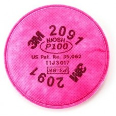 3M 2091 Filters, Oil & Non Oil Based Particles, P100, Magenta, 2/PK