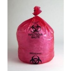 "Prostat 2091 LLD Poly Red Biohazard / Infectious Waste Liner Bags - 24"" x 24"" - 1.5 Mil - 200/Case"