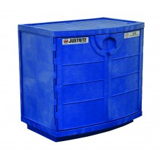 Justrite 24180 Polyethylene Corrosives and Acid Cabinet - Holds Thirty-Six 2-1/2 L Bottles - 2 Door - Blue