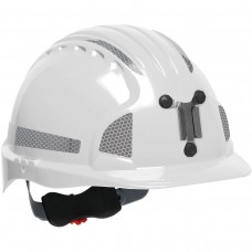 JSP Evolution® 6151 Deluxe Mining Helmet Cap Style with CR2 Reflective Kit, 6 Pt Ratchet Suspension, White, 280-EV6151MCR2-10