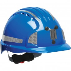 JSP Evolution® 6151 Deluxe Mining Helmet Cap Style with CR2 Reflective Kit, 6 Pt Ratchet Suspension, Blue, 280-EV6151MCR2-50