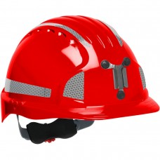 JSP Evolution® 6151 Deluxe Mining Helmet Cap Style with CR2 Reflective Kit, 6 Pt Ratchet Suspension, Red, 280-EV6151MCR2-60