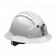 JSP Evolution® 6161 Deluxe Mining Helmet Full Brim Style, 6 Pt Ratchet Suspension, White, 280-EV6161M-10