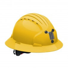 JSP Evolution® 6161 Deluxe Mining Helmet Full Brim Style, 6 Pt Ratchet Suspension, Yellow, 280-EV6161M-20