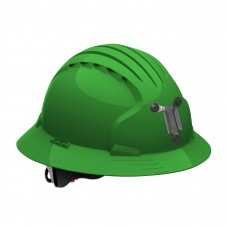 JSP Evolution® 6161 Deluxe Mining Helmet Full Brim Style, 6 Pt Ratchet Suspension, Green, 280-EV6161M-30