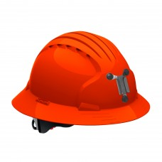 JSP Evolution® 6161 Deluxe Mining Helmet Full Brim Style, 6 Pt Ratchet Suspension, Hi Vis Orange, 280-EV6161M-OR