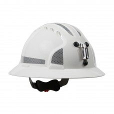 JSP Evolution® 6161 Deluxe Mining Helmet Full Brim Style with CR2 Reflective Kit, 6 Pt Ratchet Suspension, White, 280-EV6161MCR2-10 (CLEARANCE)