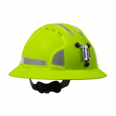 JSP Evolution® 6161 Deluxe Mining Helmet Full Brim Style with CR2 Reflective Kit, 6 Pt Ratchet Suspension, Hi Vis Lime/Yellow, 280-EV6161MCR2-LY (CLEARANCE)