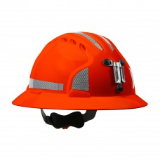 JSP Evolution® 6161 Deluxe Mining Helmet Full Brim Style with CR2 Reflective Kit, 6 Pt Ratchet Suspension, Hi Vis Orange, 280-EV6161MCR2-OR