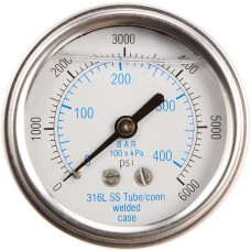 """PIC Gauge 303LFW-204, 2"""" Dial, Glycerine Filled, 1/4"""" Center Back Mount w/ U-Clamp Conn., Stainless Steel Case, 316 Stainless Steel Internals"""