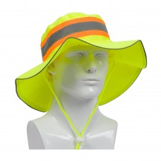 PIP 350-RANGER Hi Vis Yellow Ranger Hat ANSI Fabric and Reflective Drawstring - (CLOSEOUT)