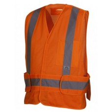Pyramex RCA2520SE Hi Vis Orange Safety Vest, Self Extinguishing, Type R - Class 2, With Reflective Tape