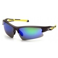 Pyramex Monteagle VGSGMV1657T Safety Glasses Ice Blue Mirror Anti-Fog Lens with Gun Metal/Hi-vis Yellow Frame