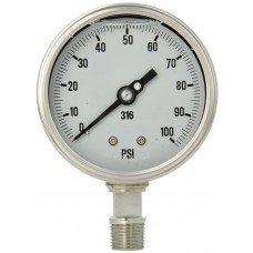 "PIC Gauge 4001-2L, Heavy Duty, 4"" Dial, 1/2"" NPT Lower Mount Conn., Stainless Steel Case, 316 Stainless Steel Internals"