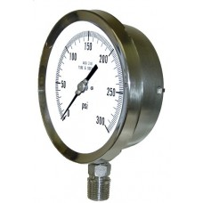 "PIC Gauge 4501-SC, 4-1/2"" Dial, Dry (Liquid Fillable), Solid Front/Blow Out Back Stainless Steel Safety Case, Lower Back Mount, 316 Stainless Steel Internals"