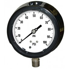 """PIC Gauge 4501 Series, 4-1/2"""" Dial, Solid Frotn/Blow-Out Back Safety Case, Liquid Fillable, Phenolic Case, 316 Stainless Steel Internals"""