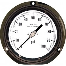 "PIC Gauge 4502 Series, 4-1/2"" Dial, Solid Front/Blow-Out Back Safety Case, Lower Back Mount, Liquid Fillable, Phenolic Case, 316 Stainless Steel Internals"
