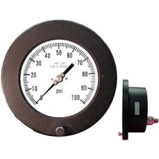"PIC Gauge 6504 Series, 6"" Dial, Dry, Solid Front/Blow-Out Back Safety Case, Lower Back Panel Mount, Aluminum Case (Hinged Ring), 316 Stainless Steel Internals"