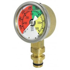 "PIC 509L Long Wall Mining Gauge, 2"" Dial, Silicone Filled, 3/8"" Steck-O Quick Connecto Lower Mount Conn., Forged Brass Case, Brass Internals"