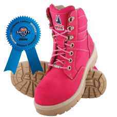 "Steel Blue Southern Cross Ladies Pink 6"" Work Boots - Steel Toe"