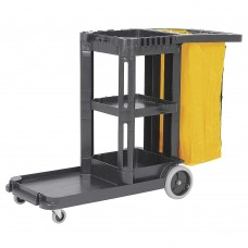 Tough Guy Black, Polypropylene Janitor Cart, Number of Shelves 1