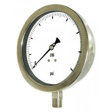 "PIC Gauge 6001-4L, Heavy Duty, 6"" Dial, 1/4"" Lower Mount Conn., Stainless Steel Case, 316 Stainless Steel Internals"