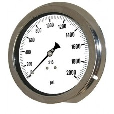 "PIC Gauge 6004-4L, Heavy Duty, 6"" Dial, 1/4"" Lower Back Front Flange Panel Mount Conn., Stainless Steel Case, 316 Stainless Steel Internals"