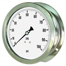 """PIC Gauge 6009-4L, Heavy Duty, 6"""" Dial, 1/4"""" Lower Back, Back Flange Panel Mount Conn., Stainless Steel Case, 316 Stainless Steel Internals"""