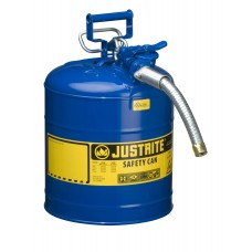 "Justrite 7250330 Type II AccuFlow Steel Safety Can for Kerosene, 5 gallon, 1"" metal hose, Blue"