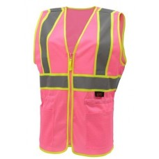 GSS 7806 Pink with Hi Vis Yellow Trim Ladies Safety Vest