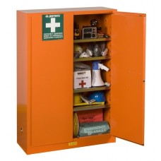 Justrite 860001 Emergency Preparedness Storage Cabinet For Supplies - GloAlert Labels - 4 Shelves - 2 Keys - Orange