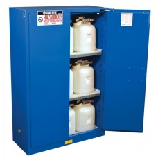 Justrite 864528 Sure-Grip EX Hazardous Material Steel Safety Cabinet - 45 Gallon - 2 Self-Close Doors - Royal Blue