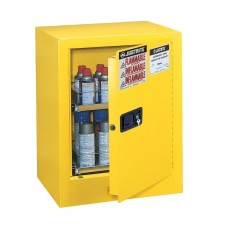 Justrite 890500 Sure-Grip EX Benchtop Flammable Safety Cabinet - Cap. 24 Aerosol Cans - 2 Drawers - 1 Manual Close Door - Yellow