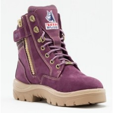 "Steel Blue Southern Cross Zip Ladies Purple 6"" Work Boots - Steel Toe"