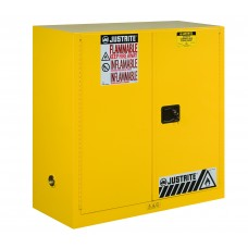 Justrite 893000 Sure-Grip EX Flammable Safety Cabinet - Cap. 30 Gal. - 1 Shelf - 2 Manual Close Doors - Yellow
