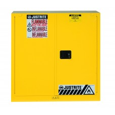 Justrite 893020 Sure-Grip EX Flammable Safety Cabinet - Cap. 30 Gallons - 1 Shelf - 2 Self-Close Doors - Yellow