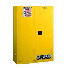 Justrite 894500 Sure-Grip EX Flammable Safety Cabinet - Cap. 45 Gallons - 2 Shelves - 2 Manual-Close Doors - Yellow