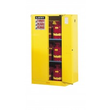 Justrite 896020 Sure-Grip EX Flammable Safety Cabinet - Cap. 60 gallons - 2 Shelves - 2 Self-Close Doors - Yellow