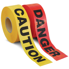 "Primeguard Reinforced Barricade Tape, 3"" x 500', CAUTION"