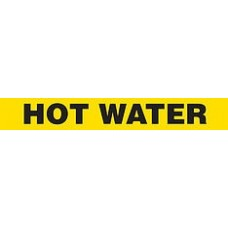 "Adhesive Pipe Marker - HOT WATER - 1"" x 9"" - 72 Per Roll"