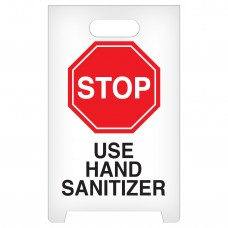 """A-Frame Standing Floor Sign - STOP - Use Hand Sanitizer - 12"""" x 19"""""""
