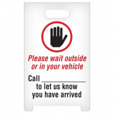 """A-Frame Standing Floor Sign - Please Wait Outside - 12"""" x 19"""""""