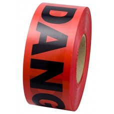 "Primeguard 1.5 Mil Value Grade Barricade Tape, 3"" x 1000', DANGER"