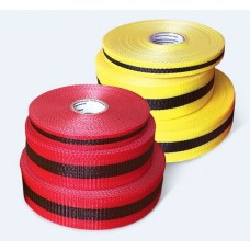 "Incom 3/4"" x 150' Red/Black Woven Barricade Tape - 48 Rolls / Case"