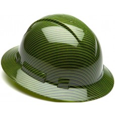 Pyramex Ridgeline Hi Vis Green Gloss Carbon Fiber Pattern Full Brim Hard Hat, 4Pt Ratchet Suspension