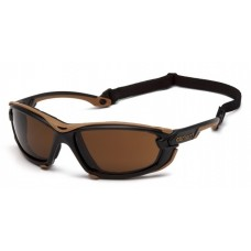 Carhartt Toccoa CHB1018DTMP Safety Glasses - Black and Tan Frame - Sandstone Bronze H2MAX Anti-Fog Lens