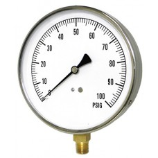 "PIC Contractor 4L Series Pressure Gauge, 4-1/2"" Dial, Dry, 1/4"" NPT Lower Mount Conn., Stainless Steel Case, Brass Internals"
