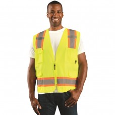 OccuNomix ECO-ATRANS Hi Vis Yellow Two Tone Economy Surveyor Safety Vest - Type R - Class 2 - 2X - (CLOSEOUT - LIMITED STOCK AVAILABLE)