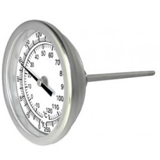 "PIC Bimetal Dial Type Thermometer - 5"" Dial - 4"" Stem - Fixed Back Mount"